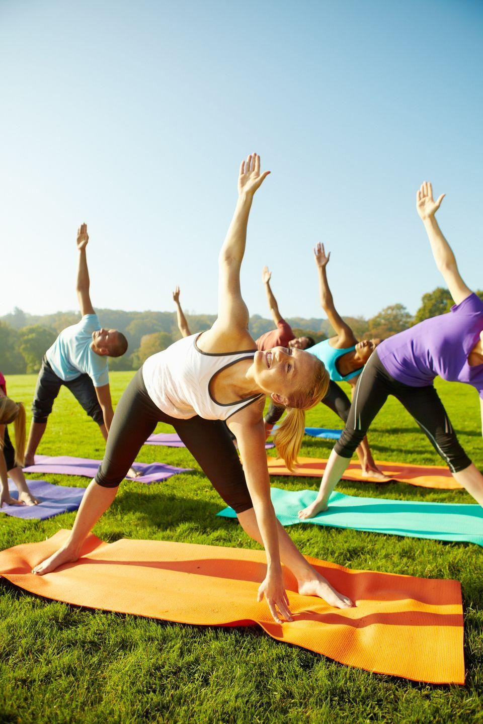 "<p>If you prefer to celebrate with peace over parties, a yoga class with friends is a great choice. An outdoor class on a sunny day is the perfect way to get centered before segueing into a birthday brunch.</p><p><a class=""link rapid-noclick-resp"" href=""https://go.redirectingat.com?id=74968X1596630&url=https%3A%2F%2Fwww.walmart.com%2Fip%2FEveryday-Essentials-All-Purpose-1-2-Inch-High-Density-Foam-Exercise-Yoga-Mat-Anti-Tear-with-Carrying-Strap-Blue%2F275846958&sref=https%3A%2F%2Fwww.thepioneerwoman.com%2Fhome-lifestyle%2Fentertaining%2Fg34192298%2F50th-birthday-party-ideas%2F"" rel=""nofollow noopener"" target=""_blank"" data-ylk=""slk:SHOP YOGA MATS"">SHOP YOGA MATS</a></p>"
