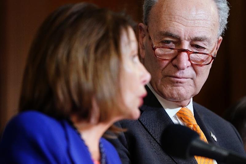US House speaker Nancy Pelosi and Senate Democratic leader Chuck Schumer have warned Trump against seeking new funds in the 2020 budget to build a wall on the Mexican border (AFP Photo/JOSHUA ROBERTS)