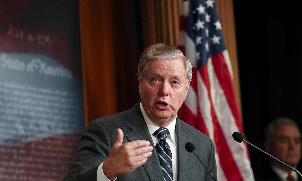 Sen. Lindsey Graham discusses his plans to introduce a Senate resolution condemning the Democratic-led House impeachment inquiry. (Photo: Siphiwe Sibeko/Reuters)