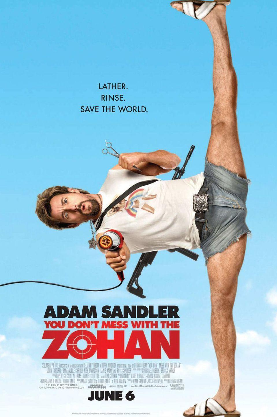"<p><strong>Role: </strong>Zohan Dvir / Scrappy Coco<br></p><p>The most interesting thing about this movie is that Sandler actually got sued by a writer who said Zohan ripped off the idea to have ""a Navy SEAL-turned-hairdresser-turned-crime-fighter-with-a-blow-dryer."" Sandler was found to have not infringed on any copyright!<br></p>"