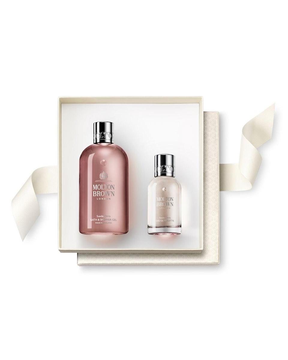 "<h2>Molton Brown Suede Orris Fragrance Rituals Gift Set</h2> <br>Behold: the bath set your mom will brag to all her friends about. It includes a full-size body gel and eau de toilette spray with powdery notes of mandarin orange, rose, and jasmine to make her bathroom smell like a full-on botanical garden each time she uses them.<br><br><strong>Molton Brown</strong> Suede Orris Fragrance Rituals Gift Set, $, available at <a href=""https://go.skimresources.com/?id=30283X879131&url=https%3A%2F%2Fwww.neimanmarcus.com%2Fp%2Fmolton-brown-suede-orris-fragrance-rituals-gift-set-prod220780041%3FchildItemId%3DNMC4Z1S_%26navpath%3Dcat000000_cat000730_cat40600747_cat40600748%26page%3D0%26position%3D1"" rel=""nofollow noopener"" target=""_blank"" data-ylk=""slk:Neiman Marcus"" class=""link rapid-noclick-resp"">Neiman Marcus</a><br>"