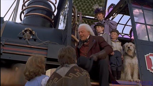 Doc Brown bids farewell to Marty McFly at the end of 'Back to the Future Part III'. (Credit: Universal)