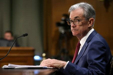 FILE PHOTO: Federal Reserve Board Chairman Jerome Powell testifies on Capitol Hill in Washington DC