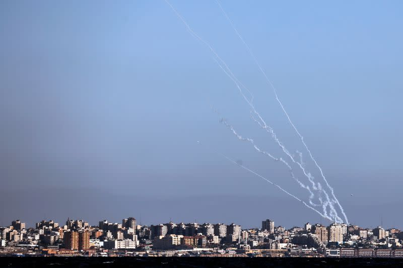 Rockets launched from the Gaza strip towards Israel as it seen from an Israeli naval boat while patrolling in the Mediterranean Sea off the southern Israeli coast as Israel-Gaza fighting rages on