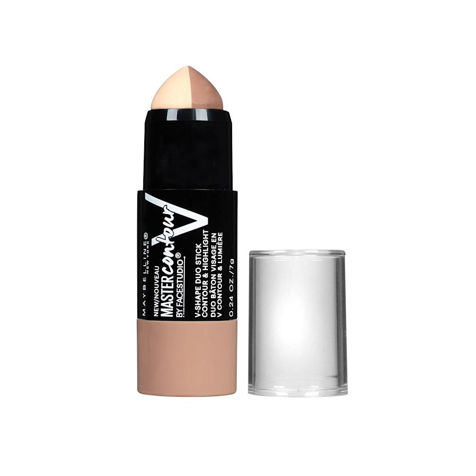 """<p><strong>Maybelline New York FaceStudio Master Contour & Highlight V-Shape Duo Stick</strong></p> <p>In a rush? This two-in-one stick makes contouring fast affair. You don't even need to switch products when you're ready for the next step. All you have to do is flip to the other side of the stick—no additional uncapping needed.</p> <p>$7.99 (<a href=""""http://www.target.com/p/maybelline-face-studio-master-contour-stick-010-light/-/A-50534763?mbid=synd_yahoobeauty"""" rel=""""nofollow noopener"""" target=""""_blank"""" data-ylk=""""slk:target.com"""" class=""""link rapid-noclick-resp"""">target.com</a>).</p>"""