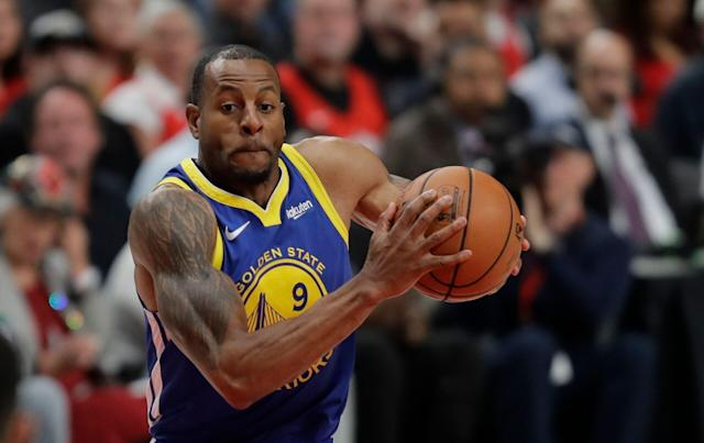 "<a class=""link rapid-noclick-resp"" href=""/nba/players/3826/"" data-ylk=""slk:Andre Iguodala"">Andre Iguodala</a> won't play Monday against Portland. (AP)"