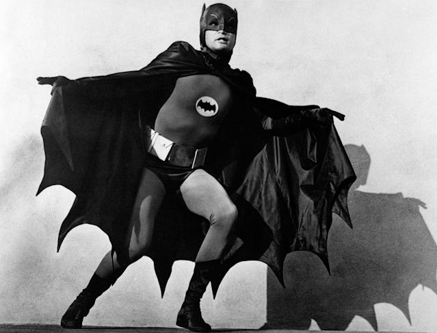 "<p>Adam West, wears the costume of the comics superhero Batmanin a still from the TV series ""Batman,"" 1966. (Photo: Mondadori Portfolio by Getty Images) </p>"