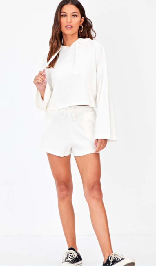 white top and shorts loungewear