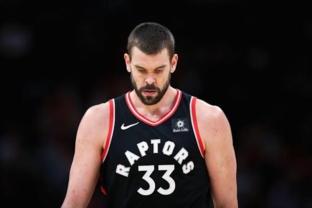 The Raptors acquired Marc Gasol for a matchup like this one against Joel Embiid. (Getty Images)