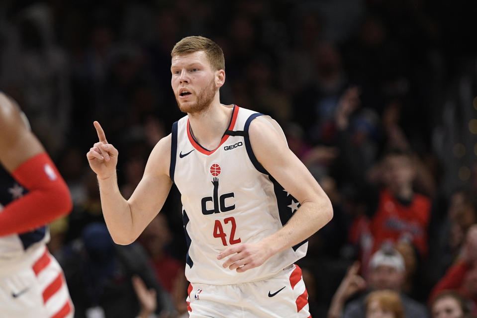Washington Wizards forward Davis Bertans (42) gestures during the first half of an NBA basketball game against the Memphis Grizzlies, Sunday, Feb. 9, 2020, in Washington. (AP Photo/Nick Wass)