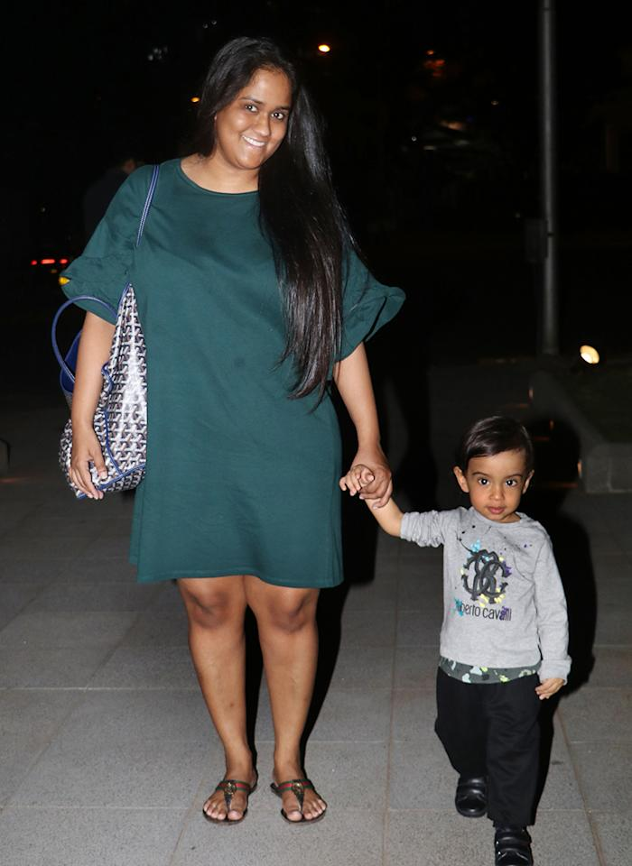 Salman Khan's sister and film producer Arpita Khan Sharma was seen enjoying a stroll in Bandra with her bundle of joy, Ahil. (Image: Yogen Shah)
