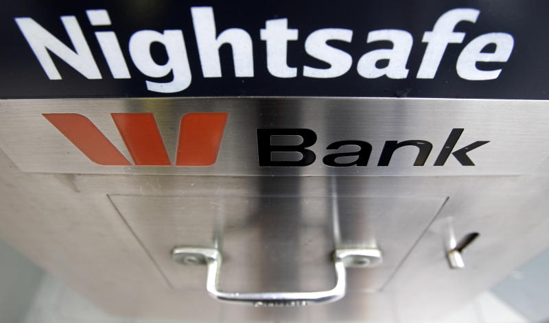 In this Aug. 23, 2010, file photo, a night safe is available at a Westpac branch in Sydney, Australia. Major Australian bank Westpac is facing a potentially massive fine after being accused of 23 million breaches of the anti-money laundering and counterterrorism financing act. (AP Photo/Rick Rycroft, File)