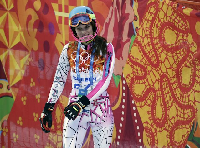 Lebanon's Jacky Chamoun stands in the finish area after completing the first run of the women's slalom at the Sochi 2014 Winter Olympics, Friday, Feb. 21, 2014, in Krasnaya Polyana, Russia. (AP Photo/Gero Breloer)