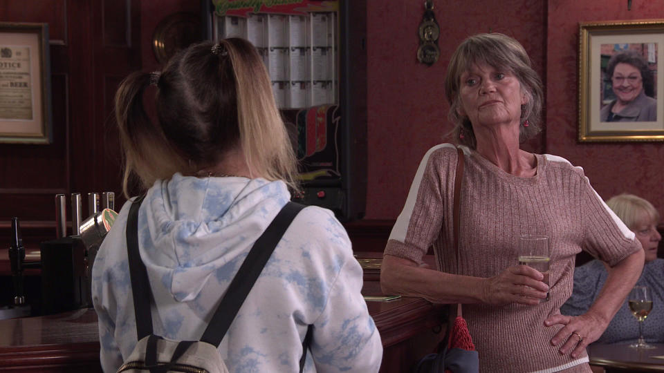FROM ITV  STRICT EMBARGO - No Use Before Tuesday 7th September  2021  Coronation Street - Ep 10433  Friday 17th September 2021 - 2nd Ep  Gemma Winter [DOLLY ROSE CAMPBELL] breaks the news to Freda [ALI BRIGGS] that she can't attend Norris' funeral as it clashes with Aled's operation. Freda warns Gemma that by giving Aled cochlear implants they're changing his identity.   Picture contact David.crook@itv.com   This photograph is (C) ITV Plc and can only be reproduced for editorial purposes directly in connection with the programme or event mentioned above, or ITV plc. Once made available by ITV plc Picture Desk, this photograph can be reproduced once only up until the transmission [TX] date and no reproduction fee will be charged. Any subsequent usage may incur a fee. This photograph must not be manipulated [excluding basic cropping] in a manner which alters the visual appearance of the person photographed deemed detrimental or inappropriate by ITV plc Picture Desk. This photograph must not be syndicated to any other company, publication or website, or permanently archived, without the express written permission of ITV Picture Desk. Full Terms and conditions are available on  www.itv.com/presscentre/itvpictures/terms