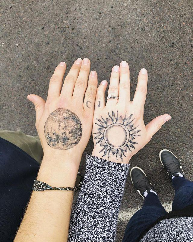 """<p>Are you the sun to your partner's moon? Recreate this cute couples tattoo design.</p><p><a href=""""https://www.instagram.com/p/Bgr6o4jhI5s/?utm_source=ig_embed&utm_campaign=loading"""" rel=""""nofollow noopener"""" target=""""_blank"""" data-ylk=""""slk:See the original post on Instagram"""" class=""""link rapid-noclick-resp"""">See the original post on Instagram</a></p>"""