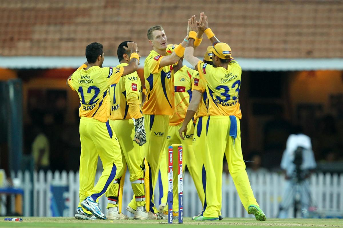 Christopher Morris celebrates wicket of Gautam Gambhir during match 38 of the Pepsi Indian Premier League between The Chennai Superkings and the Kolkata Knight Riders held at the MA Chidambaram Stadiumin Chennai on the 28th April 2013 (BCCI)