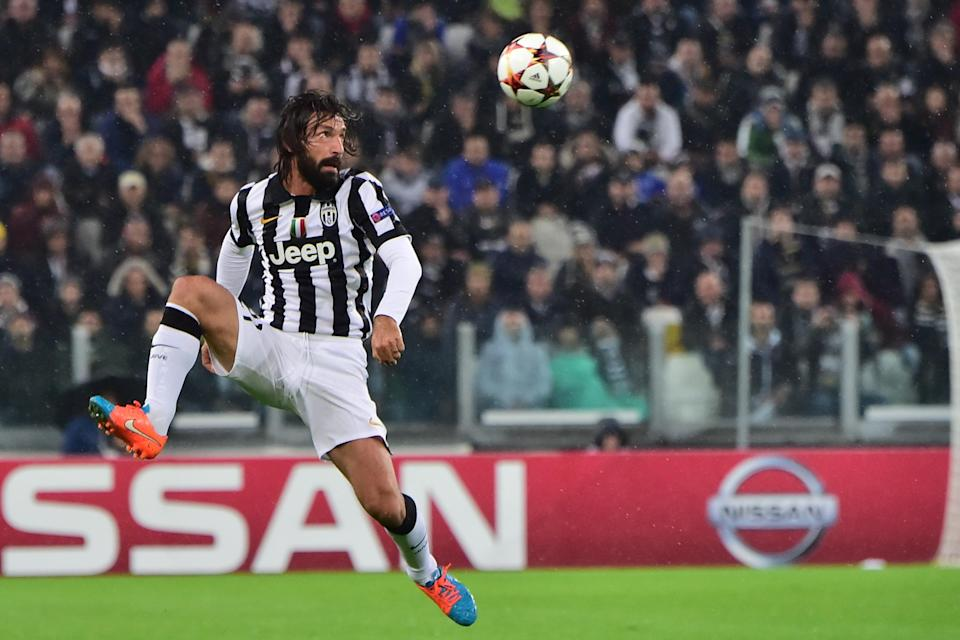 Juventus midfielder Andrea Pirlo controls the ball during the UEFA Champions League Group A football match Juventus vs Olympiakos at the Juventus Stadium in Turin on November 4, 2014 (AFP Photo/Giuseppe Cacace)