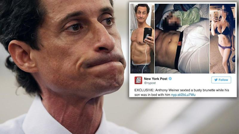 Disgraced former congressman Anthony Weiner is under investigation for allegedly sending illicit text messages to a 15-year-old girl. Photo: Supplied