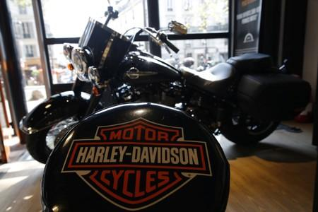 The logo of U.S. motorcycle company Harley-Davidson is seen on one of their models at a shop in Paris