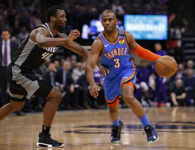 Chris Paul, right, has been great for the surprising Thunder. (AP Photo/Rich Pedroncelli)