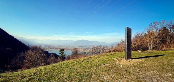 PHOTO: A metal structure stands on the Batca Doamnei hill, outside Piatra Neamt, northern Romania, on Nov. 27, 2020. The structure, similar in shape and size to the monolith that was placed in the Utah desert, has since disappeared. (Robert Iosub via AP)