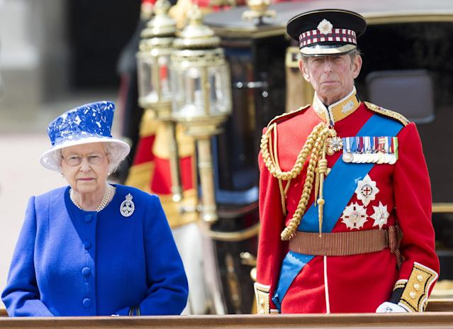 LONDON, ENGLAND - JUNE 15: Prince Edward, Duke of Kent and Queen Elizabeth II during the annual Trooping The Colour ceremony at Buckingham Palace on June 15, 2013 in London, England. (Photo by Mark Cuthbert/UK Press via Getty Images)