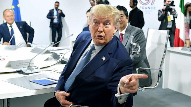 PHOTO: President Donald Trump attends the first working session of the G7 Summit, in Biarritz, France, Aug. 25, 2019. (Jeff J Mitchell/Reuters)