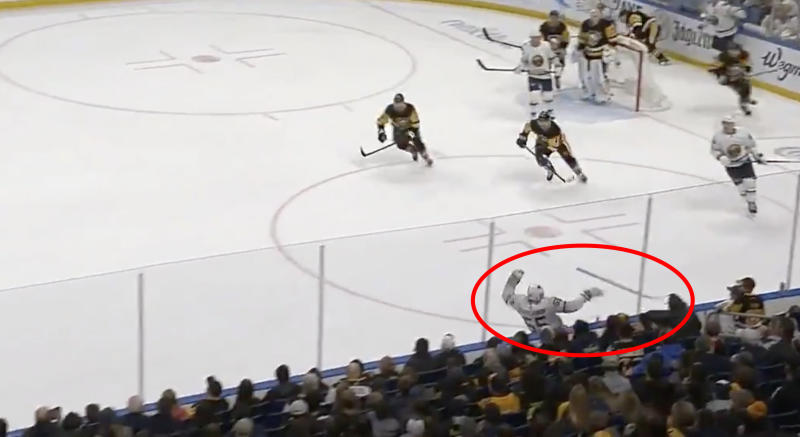 The attempt by Rasmus Ristolainen of the Buffalo Sabres to to keep a puck in the offensive zone ended in disaster on Thursday night. (Twitter/@HeresYourReplay)