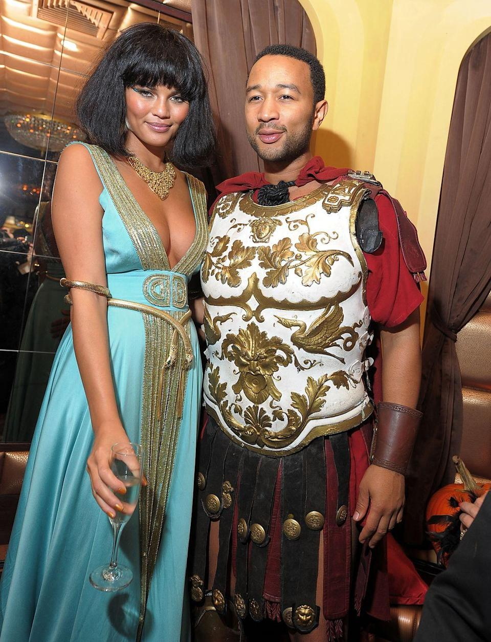<p>Model Chrissy Teigen and musician John Legend attended Heidi Klum's 2010 Halloween party in New York City dressed up as Antony and Cleopatra. I mean, check out that armor.</p>