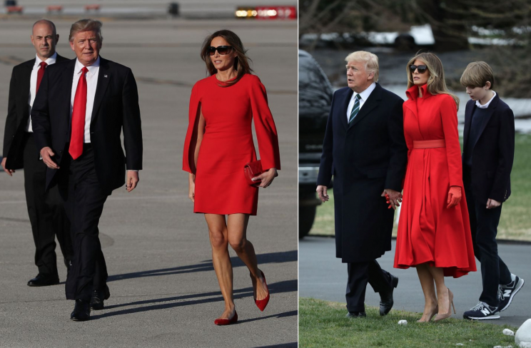 <i>Melania has been spotted in red several times [Photo: Getty]</i>