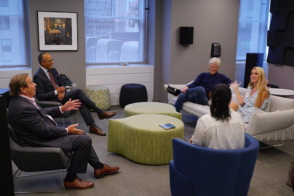 """Dennis Murphy, Lester Holt, Keith Morrison and Andrea Canning discuss the 30th season of """"Dateline NBC"""" in New York City on Sept. 20, 2021."""