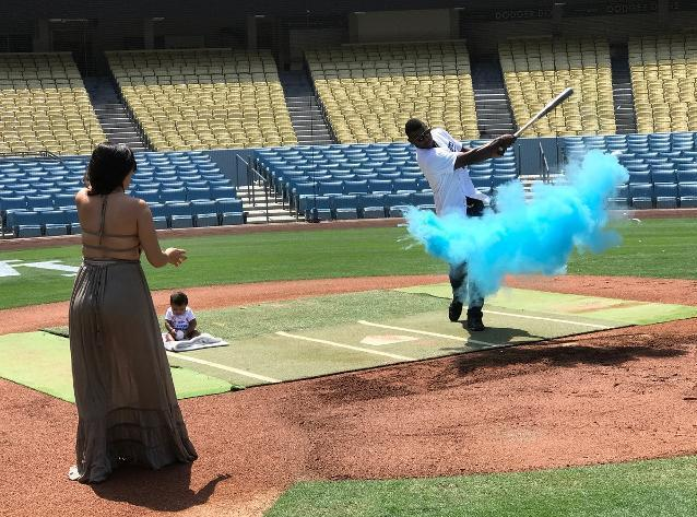 Yasiel Puig and his girlfriend Andrea started Players Weekend with a gender reveal at Dodger Stadium. (MLB)