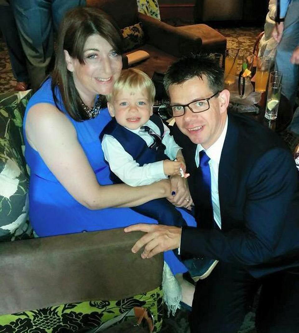 Jacob with his mum, Andrea, who passed away from breast cancer, and dad, Andrew. (Caters)