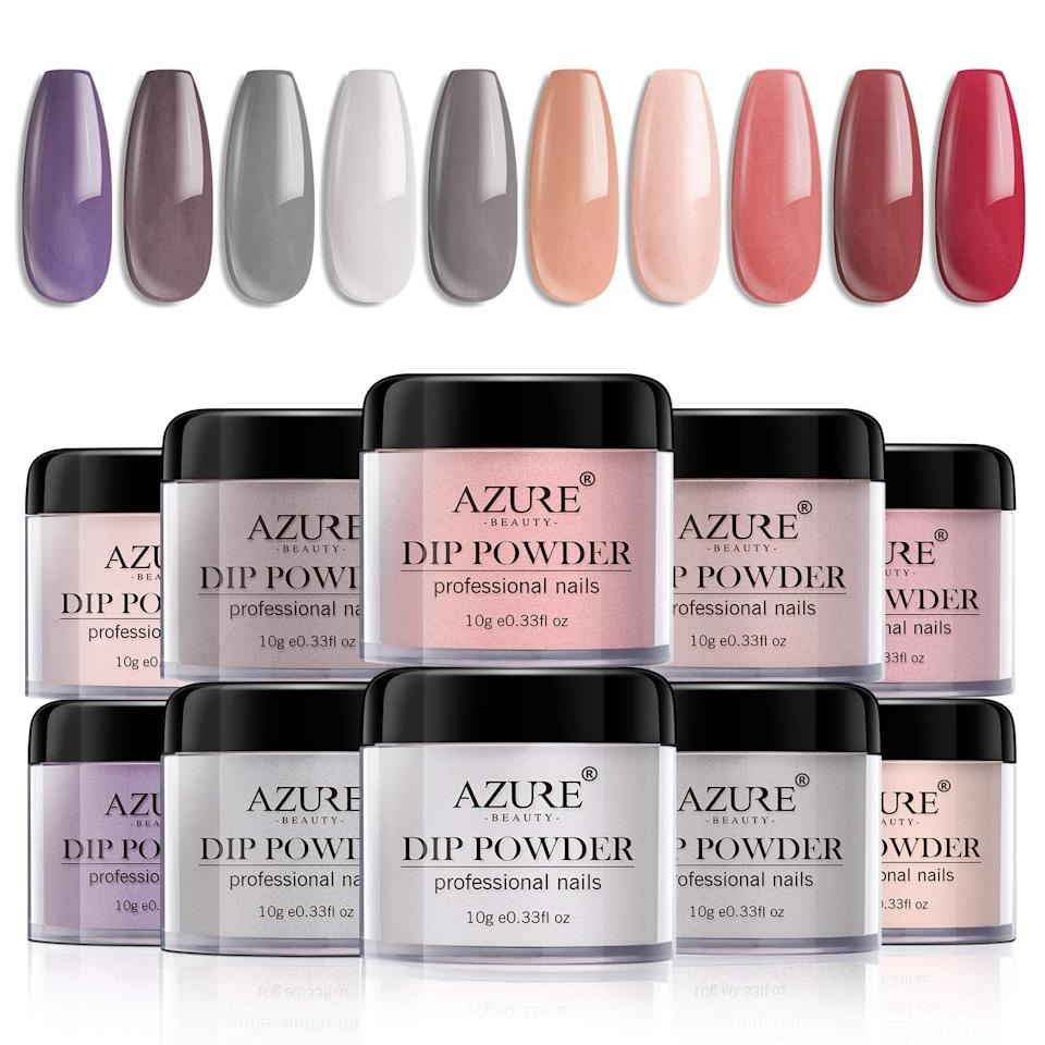 """<p>If you're new to dip powder nails or home manicures, try <product href=""""http://www.amazon.com/Nail-Polish-Glitter-Collection-Colors/dp/B07GLKS79X/"""" target=""""_blank"""" class=""""ga-track"""" data-ga-category=""""internal click"""" data-ga-label=""""http://www.amazon.com/Nail-Polish-Glitter-Collection-Colors/dp/B07GLKS79X/"""" data-ga-action=""""body text link"""">Azure Beauty's Dip Powder Nails Color Set</product> ($36). It includes a wooden stick, nail file, buffer, dust brush, and cuticle oil so your nails are thoroughly prepped and ready.</p>"""