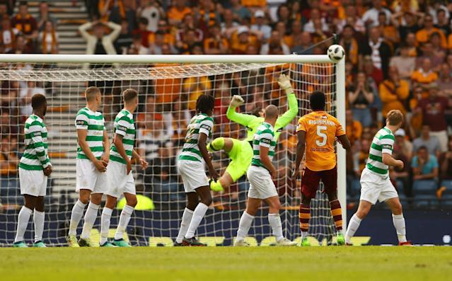 Soccer Football - Scottish Cup Final - Celtic vs Motherwell - Hampden Park, Glasgow, Britain - May 19, 2018 Motherwell's Gael Bigirimana hits the post with a shot from a free kick Action Images via Reuters/Jason Cairnduff