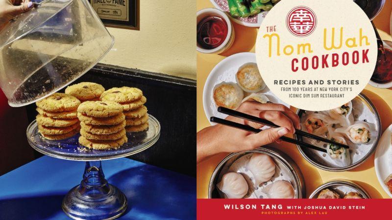 Left: a tray of Almond Cookies; right: cover of the Nom Wah Cookbook