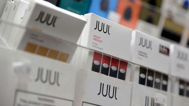 PHOTO: Juul products are displayed at a smoke shop in New York City, Dec. 20, 2018. (Seth Wenig/AP, FILE)