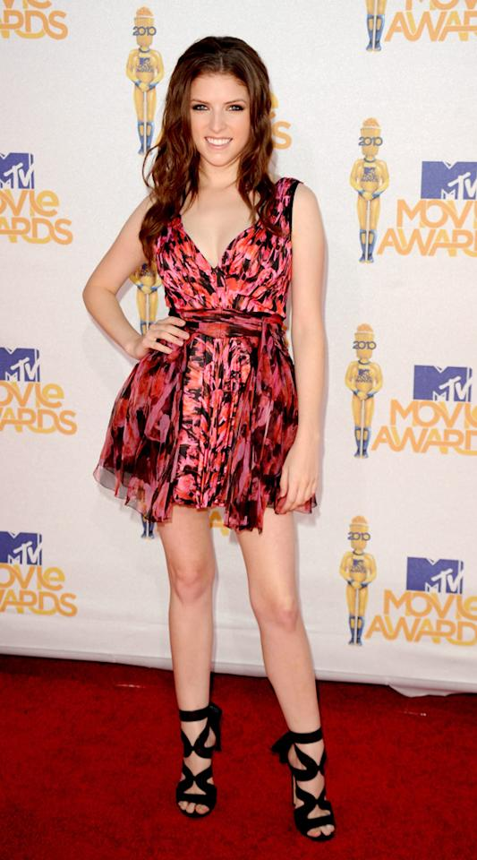"""Not to be outdone was """"Best Breakout Star"""" winner Anna Kendrick (""""Up In the Air""""), who certainly stepped up her game at the awards ceremony in a ferocious Zac Posen piece and $800 Gianvito Rossi heels. Jason Merritt/<a href=""""http://www.gettyimages.com/"""" target=""""new"""">GettyImages.com</a> - June 6, 2010"""