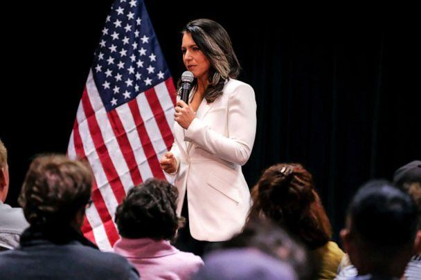 PHOTO: Democratic Presidential Candidate and Hawaii Congresswoman Tulsi Gabbard seen speaking during her political campaign at in Nashua, N.H. on Oct. 1, 2019. (SOPA Images/LightRocket via Getty Images, FILE)