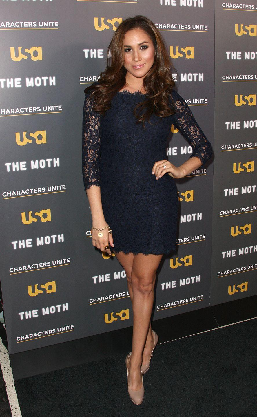 <p>And Meghan wore the same exact dress—just shorter and in blue—to a Hollywood event in 2012.</p>
