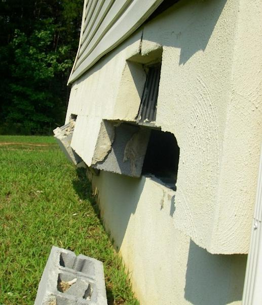 A broken foundation in Louisa County, Va., caused by the 5.8-magnitude earthquake that hit eastern Virginia on Aug. 23, 2011.