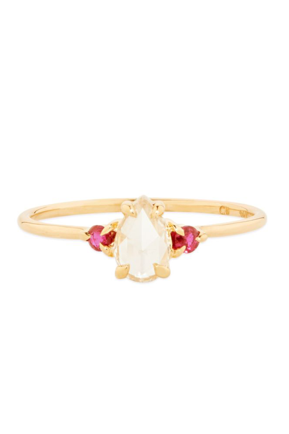 "<p>Petite ruby accent stones complement this petite ring, creating rose undertones throughout the entire piece.</p><p><em>""Leda The Swan"" ring with rubies, $3.200, <a href=""https://www.catbirdnyc.com/leda-the-swan-rubies.html"" rel=""nofollow noopener"" target=""_blank"" data-ylk=""slk:catbirdnyc.com"" class=""link rapid-noclick-resp"">catbirdnyc.com</a>.</em></p><p><a class=""link rapid-noclick-resp"" href=""https://go.redirectingat.com?id=74968X1596630&url=https%3A%2F%2Fwww.catbirdnyc.com%2Fleda-the-swan-rubies.html&sref=https%3A%2F%2Fwww.harpersbazaar.com%2Fwedding%2Fbridal-fashion%2Fg24856146%2Fruby-engagement-rings%2F"" rel=""nofollow noopener"" target=""_blank"" data-ylk=""slk:SHOP"">SHOP</a></p>"