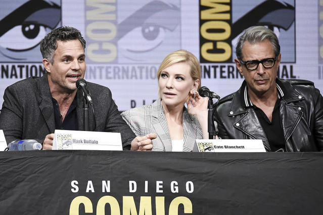 <p>Mark Ruffalo, Cate Blanchett, and Jeff Goldblum attend the Marvel panel on Day 3 of Comic-Con International on July 22, 2017, in San Diego. (Photo by Richard Shotwell/Invision/AP) </p>