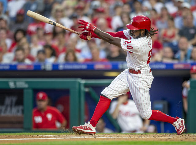Philadelphia Phillies' Roman Quinn follows through on a home run in the third inning of the team's baseball game against the Chicago White Sox, Friday, Aug. 2, 2019, in Philadelphia. (AP Photo/Laurence Kesterson)