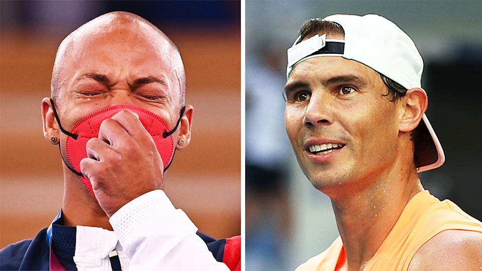 Ray Zapata (pictured left) crying on the podium at the Olympics and Rafael Nadal (pictured right) smiling during training.