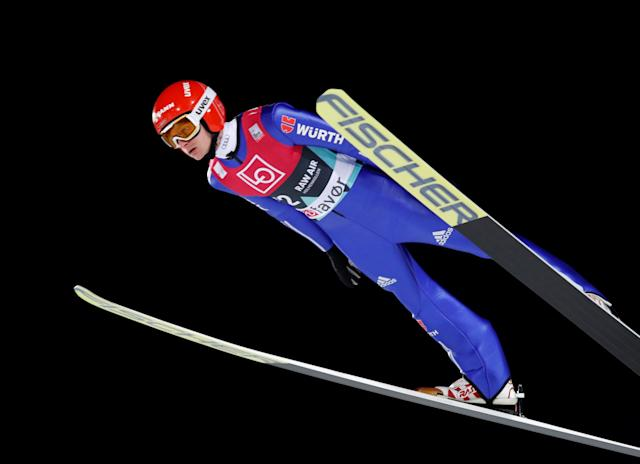 Ski Jumping World Cup - Men's HS134 Qualification - Holmenkollen, Oslo, Norway - March 9, 2018. Richard Freitag of Germany is seen during official training. NTB Scanpix/Terje Bendiksby via REUTERS ATTENTION EDITORS - THIS IMAGE WAS PROVIDED BY A THIRD PARTY. NORWAY OUT. NO COMMERCIAL OR EDITORIAL SALES IN NORWAY.