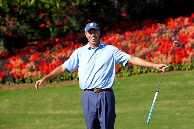 PONTE VEDRA BEACH, FL - MAY 11: Matt Kuchar of the United States reacts to his putt on the 13th hole during the second round of THE PLAYERS Championship held at THE PLAYERS Stadium course at TPC Sawgrass on May 11, 2012 in Ponte Vedra Beach, Florida. (Photo by Sam Greenwood/Getty Images)
