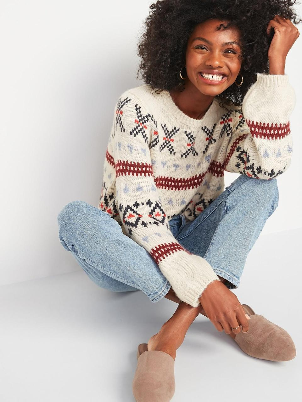 <p>Is it time to start wearing festive holiday sweaters? I say yes and plan on getting this <span>Cozy Fair Isle Blouson-Sleeve Sweater</span> ($40, originally $45).</p>