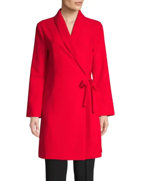 """<p>Both the streamlined shape and poppy red hue of this shawl collar jacket are sure to flatter any body type.<br><strong>SHOP IT: <a href=""""https://fave.co/2FtrmcG"""" rel=""""nofollow noopener"""" target=""""_blank"""" data-ylk=""""slk:The Bay, $36"""" class=""""link rapid-noclick-resp"""">The Bay, $36</a> </strong>(regular $119)<br><i>(Photo courtesy The Bay)</i> </p>"""