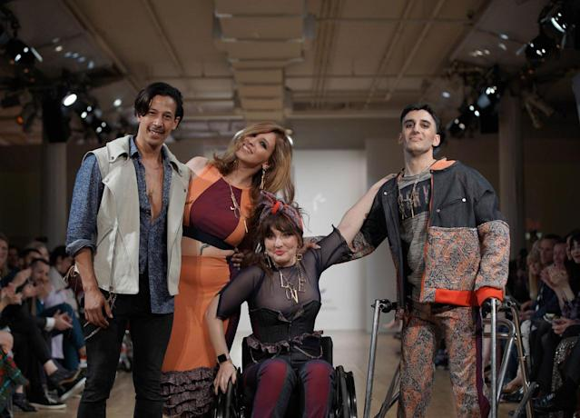 Another shot of models at the Cerebral Palsy Foundation Design for Disability show. (Photo: Richard Copier)